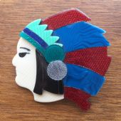 Red Indian  Brooch by Lea Stein of Paris - Native American Indian Chief Pin (SOLD)
